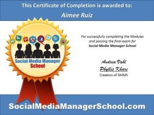 Aimee Ruiz Certificate